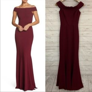 "Dress the Population ""Jackie"" Burgundy Gown"